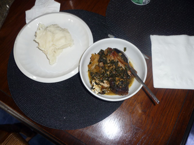 Pounded yam farina and spiced Nigerian fish soup